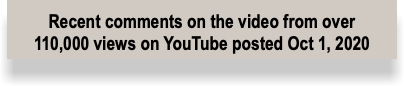 Recent comments on the video from over 97,088 views on YouTube posted Oct 1, 2020